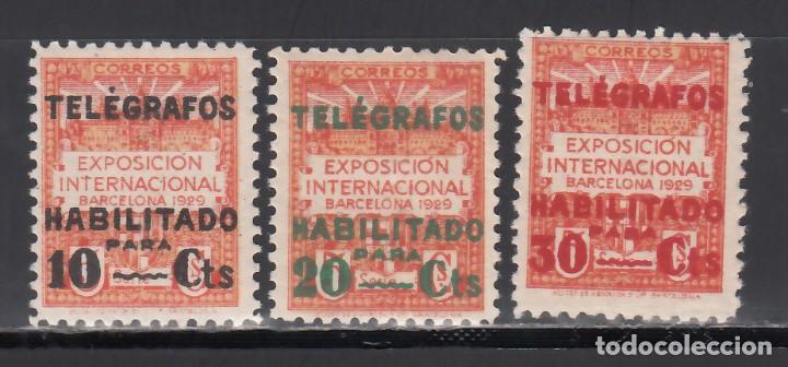 BARCELONA. TELÉGRAFOS. 1929 EDIFIL Nº 1 / 3 /**/, SIN FIJASELLOS (Sellos - España - II República de 1.931 a 1.939 - Nuevos)