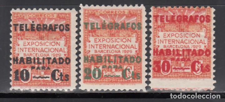 BARCELONA. TELÉGRAFOS. 1929 EDIFIL Nº 1 / 3 /*/, (Sellos - España - II República de 1.931 a 1.939 - Nuevos)