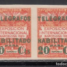 Sellos: BARCELONA. TELÉGRAFOS. 1929 EDIFIL Nº 2S /**/, PAREJA SIN DENTAR. SIN FIJASELLOS. Lote 245906335