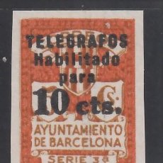 Sellos: BARCELONA. TELÉGRAFOS. 1929 EDIFIL Nº 4S (**), SIN DENTAR. SIN FIJASELLOS. Lote 245906955