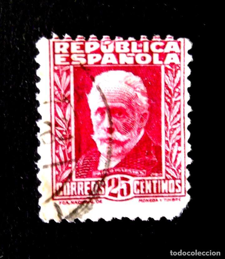 658, SELLO USADO. PERSONAJES. (Sellos - España - II República de 1.931 a 1.939 - Usados)
