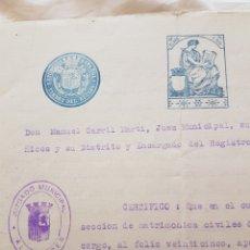 Sellos: CERTIFICADO TIMBRE DEL ESTADO REPUBLICA ESPAÑOLA. Lote 246283050