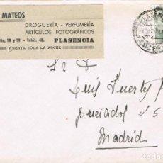 Sellos: 0919. CARTA PLASENCIA (CACERES) 1944. TICKET FARMACIA MATEOS. Lote 246289280