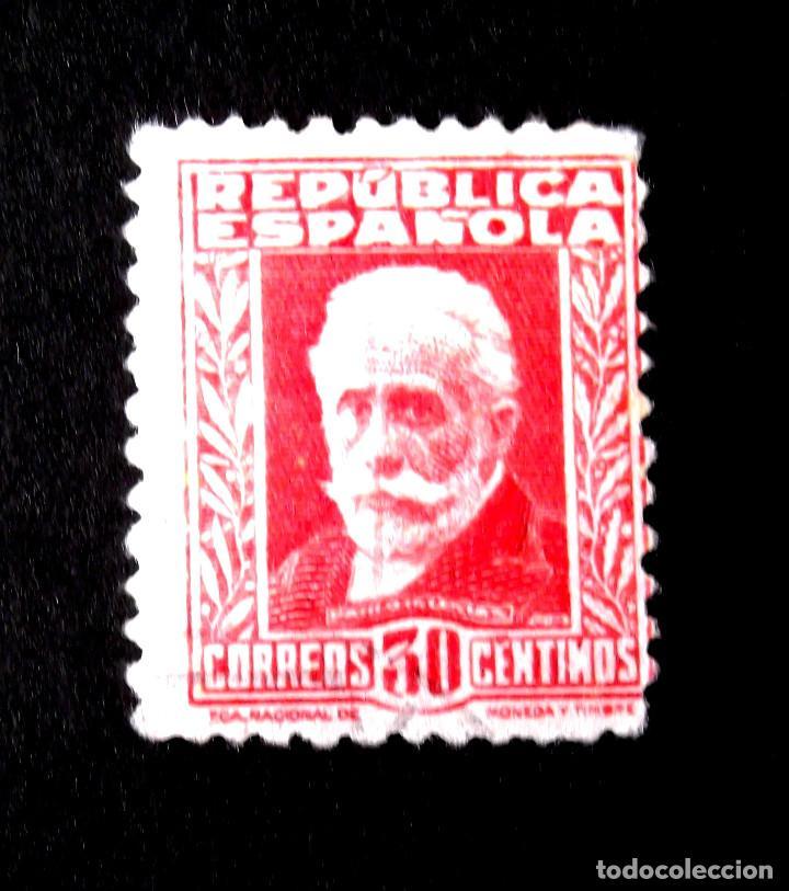 669, SELLO USADO. PERSONAJES. (Sellos - España - II República de 1.931 a 1.939 - Usados)