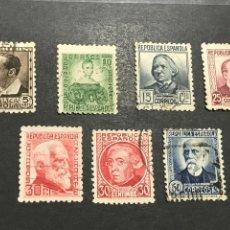 Sellos: EDIFIL 681 688 PERSONAJES 1935,USADOS , LOS DE LAS FOTOS. Lote 246588120