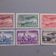 Sellos: ESPAÑA-1931-II REPUBLICA- EDIFIL 614/619 S -SIN DENTAR - SERIE COMPLETA - MARQUILLADOS - MH* -NUEVOS. Lote 246781585