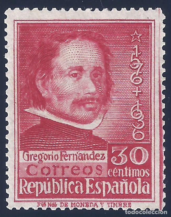 EDIFIL 726 CENTENARIO DE LA MUERTE DE GREGORIO FERNÁNDEZ 1937 (VARIEDAD 726DP ...DENTADO 14). MLH. (Sellos - España - II República de 1.931 a 1.939 - Nuevos)
