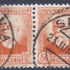 Sellos: EDIFIL 671 PERSONAJES (NICOLÁS SALMERÓN) 1932. TIRA DE 4 SELLOS. DOBLE MATASELLOS SEGOVIA 23-6-1934.. Lote 247959320