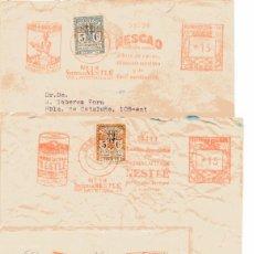 Selos: S178 VIÑETA ESCUDO BARCELONA SERIE COMPLETA-LOTE 4 SOBRES FRANQUEO MECANICO-MATASELLO NESTLE/NESCAO. Lote 248514080