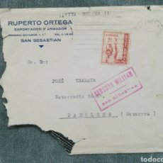 Selos: CARTA COMERCIAL SAN SEBASTIÁN - CENSURA MILITAR - SELLO CRUZADA CONTRA EL FRÍO 10 CTS. Lote 249346580
