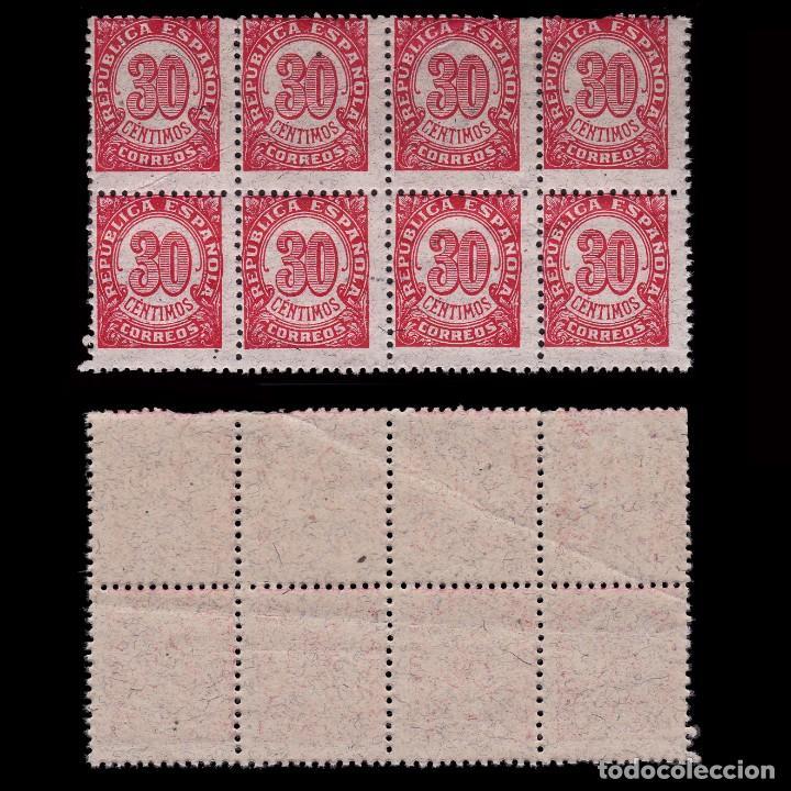 1938.CIFRAS 30C BLQ 8.DENT 11 ½ .PAPEL GRIS.MNH EDIFIL. 750 (Sellos - España - II República de 1.931 a 1.939 - Nuevos)
