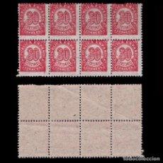 Sellos: 1938.CIFRAS 30C BLQ 8.DENT 11 ½ .PAPEL GRIS.MNH EDIFIL. 750. Lote 250318575