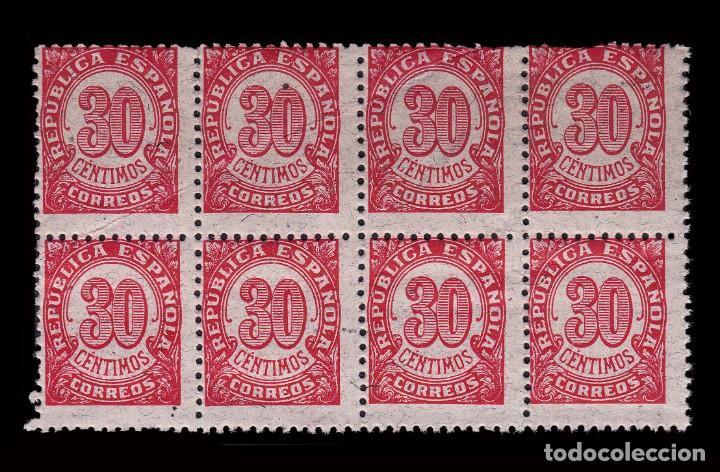 Sellos: 1938.Cifras 30c Blq 8.Dent 11 ½ .Papel Gris.MNH Edifil. 750 - Foto 2 - 250318575
