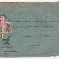 Sellos: 1931 FRAGMENTO SOBRE AZUL DIRIGIDO A MADRID DESDE AYTO. DE SANTA COLOMA GRAMANET. Lote 250321215