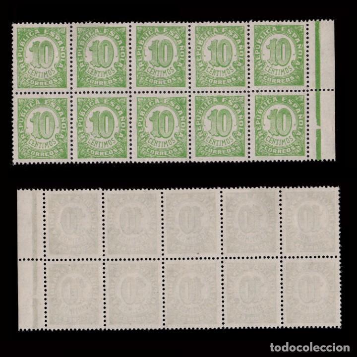 1938.CIFRAS.10C.MNH.EDIFIL.746D DENT. 13 1/2. (Sellos - España - II República de 1.931 a 1.939 - Nuevos)