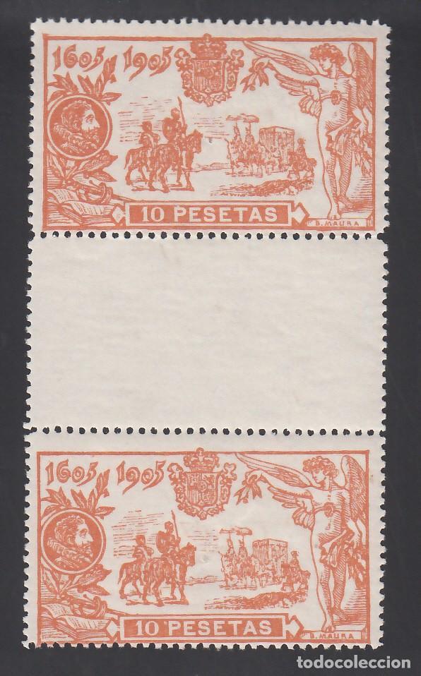 ESPAÑA, 1905 EDIFIL Nº 266, 10 PTS. NARANJA, CENTENARIO DEL EL QUIJOTE. PAREJA CON INTERPANEL (Sellos - España - II República de 1.931 a 1.939 - Nuevos)