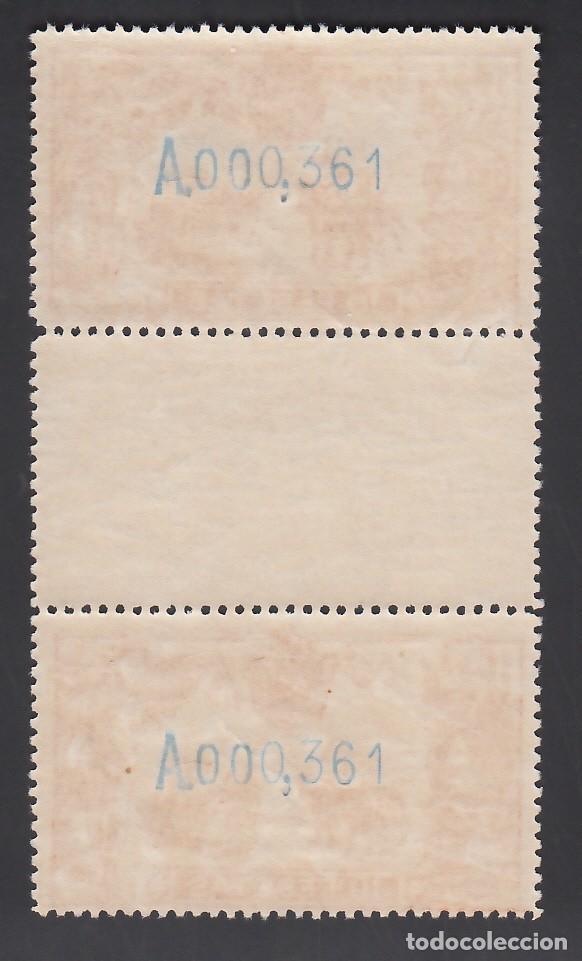 Sellos: ESPAÑA, 1905 EDIFIL Nº 266, 10 pts. naranja, Centenario del El Quijote. Pareja con Interpanel - Foto 2 - 252924155