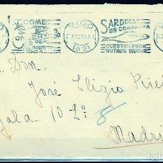 Selos: SOBRE DE VIGO A MADRID CON FRANQUEO REPUBLICA Y RODILLO DE PROPAGANDA SARDINAS COMPLETO. Lote 253445570