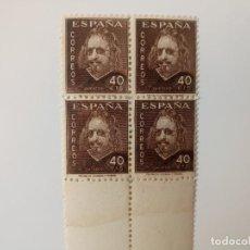 Sellos: III CENTENARIO DE LA MUERTE DE QUEVEDO EN BL4 DEL AÑO 1945 EDIFIL 989 EN NUEVO**. Lote 253539010