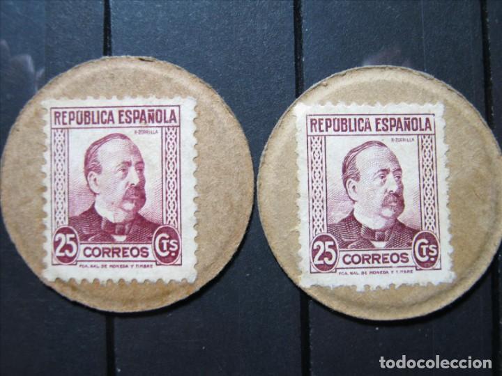 DOS SELLOS MONEDA 25 CTS. REPÚBLICA ESPAÑOLA BUENA CALIDAD!!! (Sellos - España - II República de 1.931 a 1.939 - Nuevos)