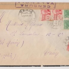 Selos: SOBRE. DENIA, ALICANTE, A ORÁN, ARGELIA. CENSURA. AMBULANTE AL DORSO.1937. Lote 253910035