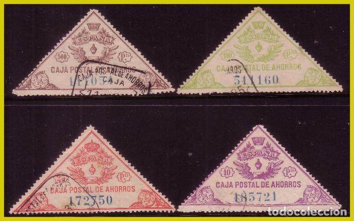 FISCALES CAJA POSTAL DE AHORROS 1933 HOJA BLOQUE, PARTE CENTRAL, GÁLVEZ Nº 16 A 19 (O) COMPLETA (Sellos - España - II República de 1.931 a 1.939 - Usados)