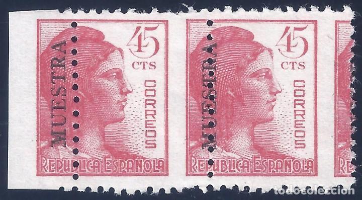 EDIFIL 752M ALEGORÍA DE LA REPÚBLICA 1938 ( PAREJA CON DENTADO DESPLAZADO) CAT. ESPEC.: 70 €. MNH ** (Sellos - España - II República de 1.931 a 1.939 - Nuevos)