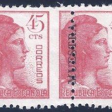 Sellos: EDIFIL 752M ALEGORÍA DE LA REPÚBLICA 1938 ( PAREJA CON DENTADO DESPLAZADO) CAT. ESPEC.: 70 €. MNH **. Lote 260439560