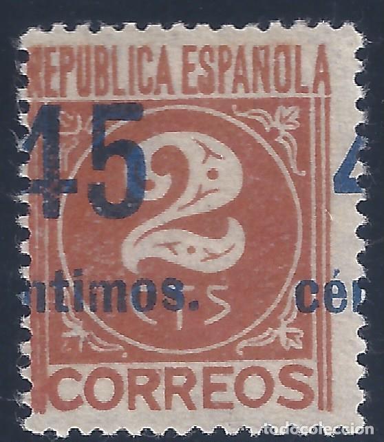 EDIFIL 744 CIFRAS. HABILITADO 45 CÉNTIMOS 1938 (VARIEDAD 744HIX...A CABALLO). V.CATÁLOGO: 33 €. MNG. (Sellos - España - II República de 1.931 a 1.939 - Nuevos)