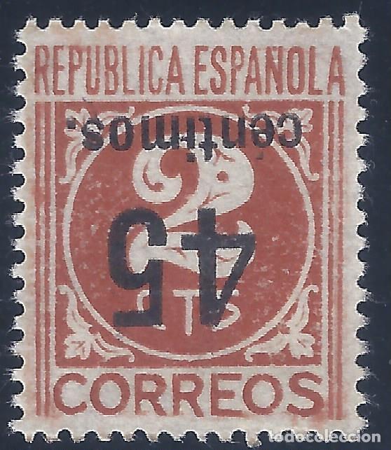 EDIFIL 744 CIFRAS. HABILITADO 45 CÉNTIMOS 1938 (VARIEDAD 744HICC INVERTIDA). V.CATÁLOGO: 34 €. MNH** (Sellos - España - II República de 1.931 a 1.939 - Nuevos)