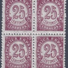 Sellos: EDIFIL 749 CIFRAS 1938 (BLOQUE DE 4). MNH **. Lote 261302015