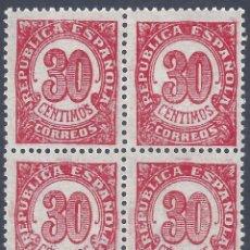 Sellos: EDIFIL 750 CIFRAS 1938 (BLOQUE DE 4). MNH **. Lote 261302035