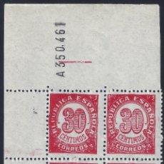 Sellos: EDIFIL 750 CIFRAS 1938. BLOQUE DE 4 (VARIEDAD...ERROR COMPOSICIÓN FLORONES). LUJO. MNH **. Lote 261571735