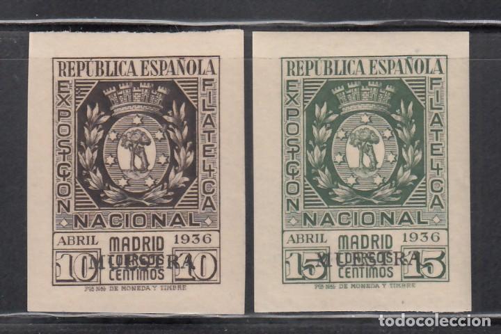 ESPAÑA, 1936 EDIFIL Nº 727 / 728 /*/ EXPOSICIÓN FILATÉLICA DE MADRID. HABILITACIÓN *MUESTRA* (Sellos - España - II República de 1.931 a 1.939 - Nuevos)