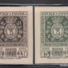 Sellos: ESPAÑA, 1936 EDIFIL Nº 727 / 728 /*/ EXPOSICIÓN FILATÉLICA DE MADRID. HABILITACIÓN *MUESTRA*. Lote 261976740