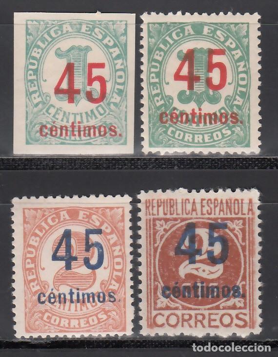 ESPAÑA, 1936 EDIFIL Nº 742 / 744, 742S /**/, CIFRAS, HABILITADO CON NUEVO VALOR, SIN FIJASELLOS (Sellos - España - II República de 1.931 a 1.939 - Nuevos)