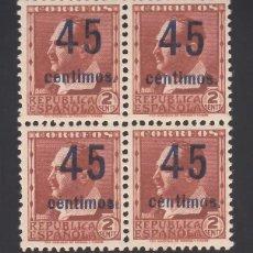 Sellos: ESPAÑA, 1936 EDIFIL Nº NE 28 /**/, NO EXPENDIDO, BLOQUE DE CUATRO, SIN FIJASELLOS. Lote 261981815