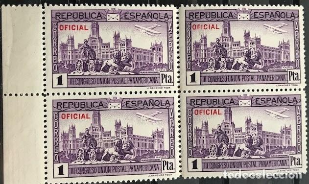 """EDIFIL 634 EN BLOQUE DE 4 MNH SELLOS ESPAÑA AÑO 1931 III CONGRESO UPP """"OFICIAL"""" (Sellos - España - II República de 1.931 a 1.939 - Nuevos)"""
