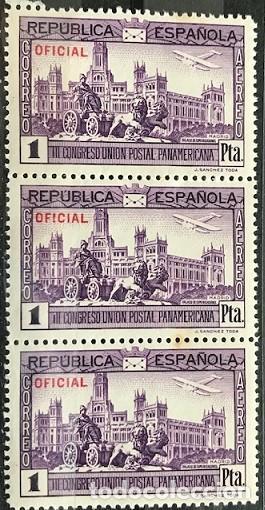 """EDIFIL 634 EN BLOQUE DE 3 MNH SELLOS ESPAÑA AÑO 1931 III CONGRESO UPP """"OFICIAL"""" (Sellos - España - II República de 1.931 a 1.939 - Nuevos)"""