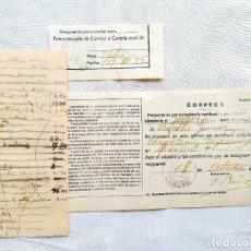 Sellos: 1933 - LA CORUÑA - RESGUARDO Y MATRIZ DE CORRESPONDENCIA CERTIFICADA. Lote 262096085