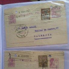 Sellos: DOS TARJETAS POSTALES 15CTS. MATRONA Y AYUNTAMIENTO DE BARCELONA 1935. Lote 264679414