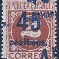 Sellos: EDIFIL 744 CIFRAS. HABILITADO 45 CÉNTIMOS 1938 (VARIEDAD 744HHH..TRIPLE HAB.). V.CAT.: 22 €. MLH.. Lote 264987539
