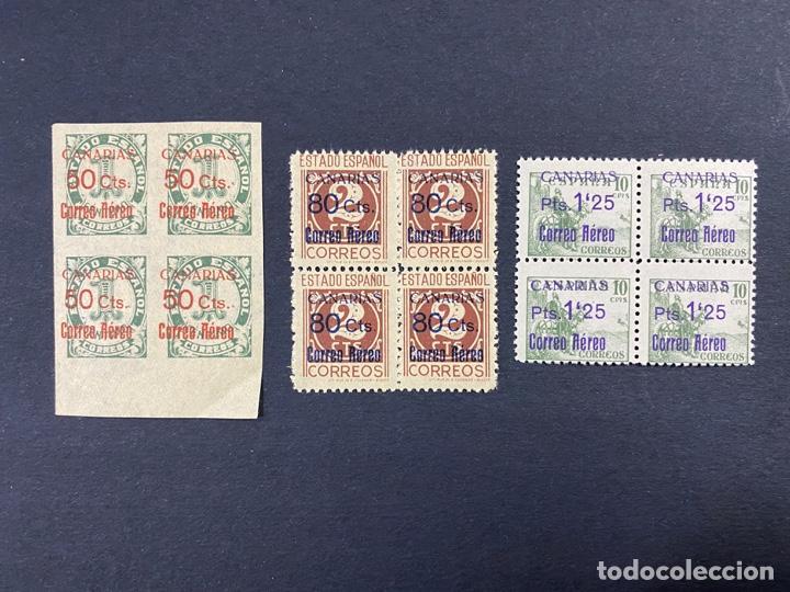 CANARIAS, 1938. EDIFIL 37/39. CORREO AÉREO. BLOQUE DE 4. SERIE COMPLETA. NUEVO. SIN FIJASELLOS (Sellos - España - II República de 1.931 a 1.939 - Nuevos)