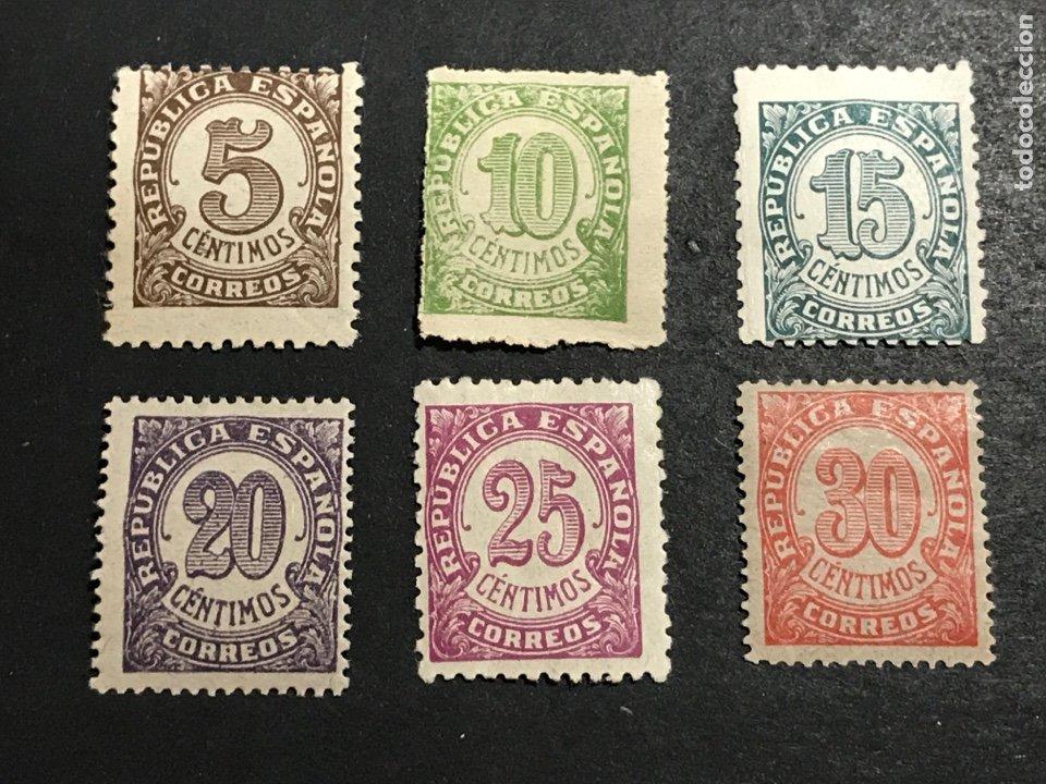 EDIFIL 745 750 CIFRAS DE 1938, 5 NUEVOS SIN FIJASELLOS, EL DE 25 CTS CON FIJASELLOS, VER FOTOS (Sellos - España - II República de 1.931 a 1.939 - Nuevos)