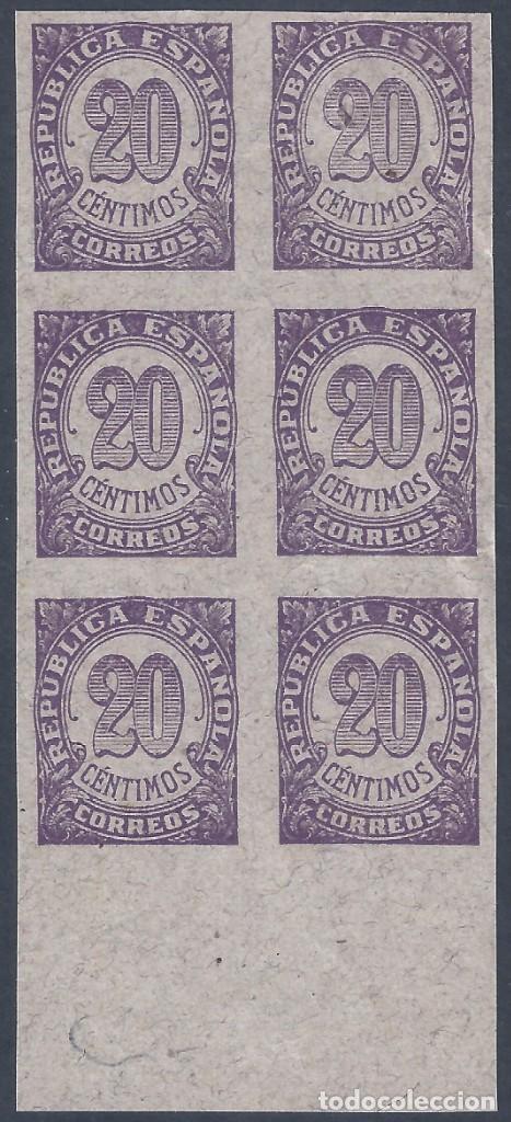 EDIFIL 748S CIFRAS 1938. BLOQUE DE 6 CON BORDE INFERIOR DE HOJA. VALOR CATÁLOGO: 144 €. LUJO. (Sellos - España - II República de 1.931 a 1.939 - Nuevos)
