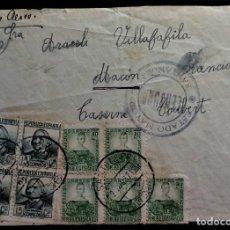 Selos: GUERRA CIVIL WAR SANTANDER 1937 ESTADO MAYOR CENSURA CORREO AÉREO POR AVIÓN FRONTAL. Lote 267501954
