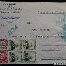 Sellos: GUERRA CIVIL WAR MADRID FERROCARRILES CENSURA MILITAR FRONTAL. Lote 267502099