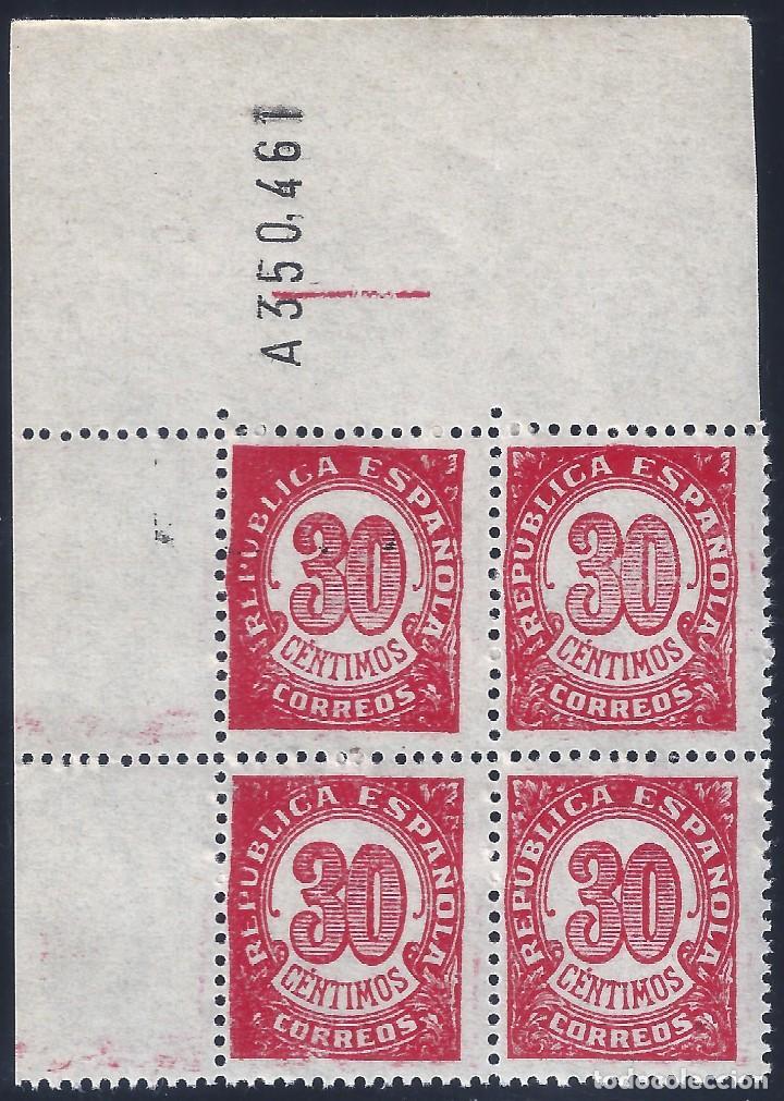 EDIFIL 750 CIFRAS 1938. BLOQUE DE 4 (VARIEDAD...ERROR COMPOSICIÓN FLORONES). LUJO. MNH ** (Sellos - España - II República de 1.931 a 1.939 - Nuevos)