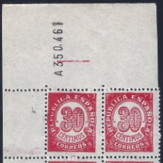 Sellos: EDIFIL 750 CIFRAS 1938. BLOQUE DE 4 (VARIEDAD...ERROR COMPOSICIÓN FLORONES). LUJO. MNH **. Lote 267568424