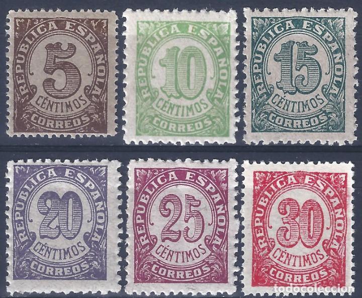 EDIFIL 745-750 CIFRAS. 1938 (SERIE COMPLETA). MNH ** (Sellos - España - II República de 1.931 a 1.939 - Nuevos)